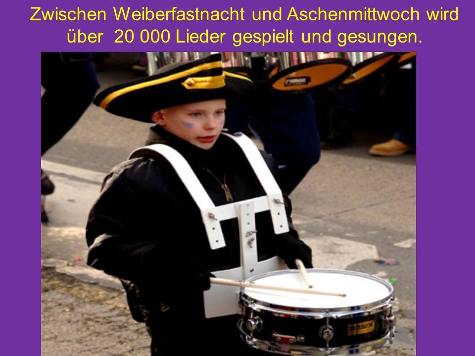 Zwischen Weiberfastnacht und Aschenmittwoch wird über 20 000 Lieder gespielt und gesungen.