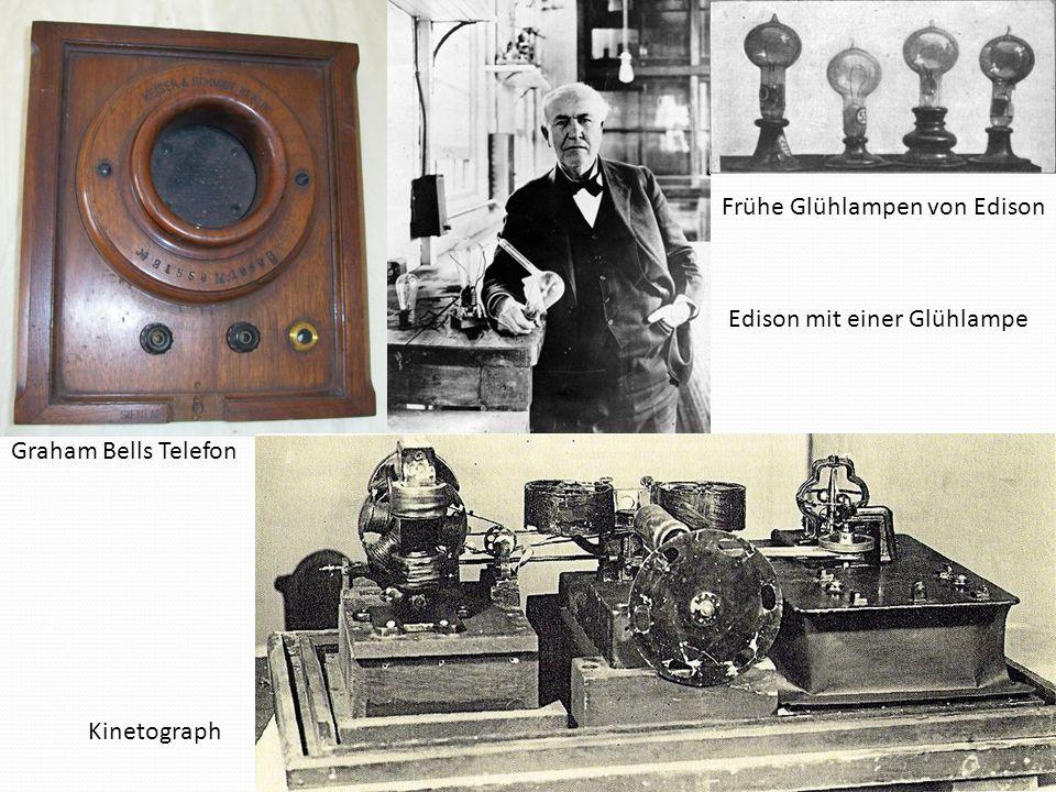 Frühe Glühlampen von Edison Edison mit einer Glühlampe Kinetograph Graham Bells Telefon
