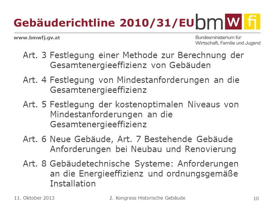 www.bmwfj.gv.at 2. Kongress Historische Gebäude 11. Oktober 2013 Gebäuderichtline 2010/31/EU Art. 3 Festlegung einer Methode zur Berechnung der Gesamt