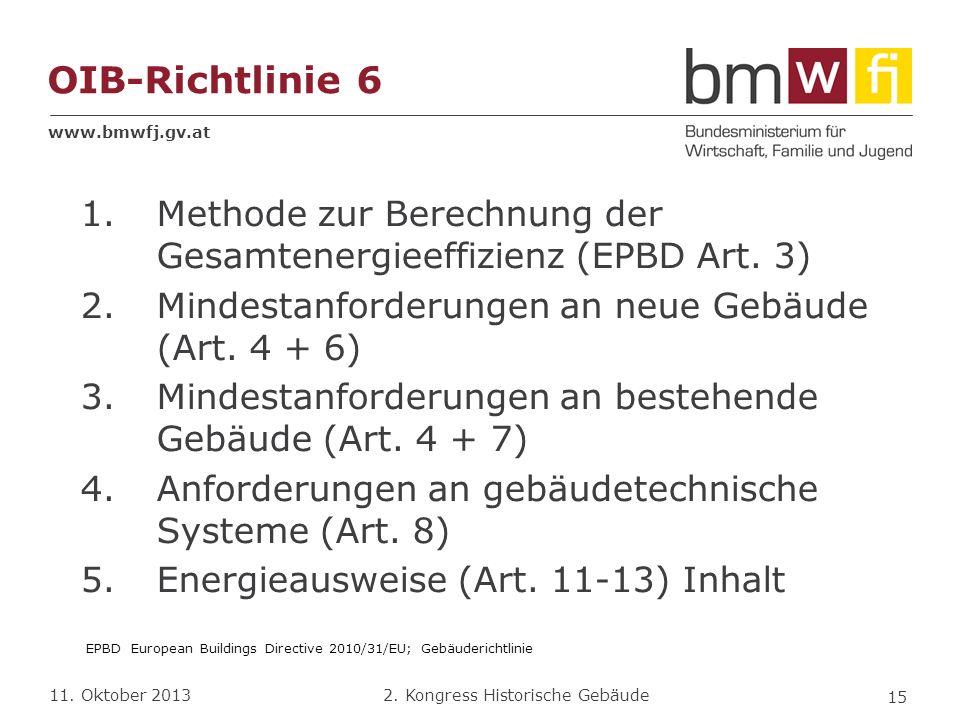 www.bmwfj.gv.at 2. Kongress Historische Gebäude 11. Oktober 2013 OIB-Richtlinie 6 1.Methode zur Berechnung der Gesamtenergieeffizienz (EPBD Art. 3) 2.