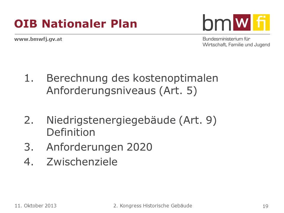 www.bmwfj.gv.at 2. Kongress Historische Gebäude 11. Oktober 2013 OIB Nationaler Plan 1.Berechnung des kostenoptimalen Anforderungsniveaus (Art. 5) 2.N