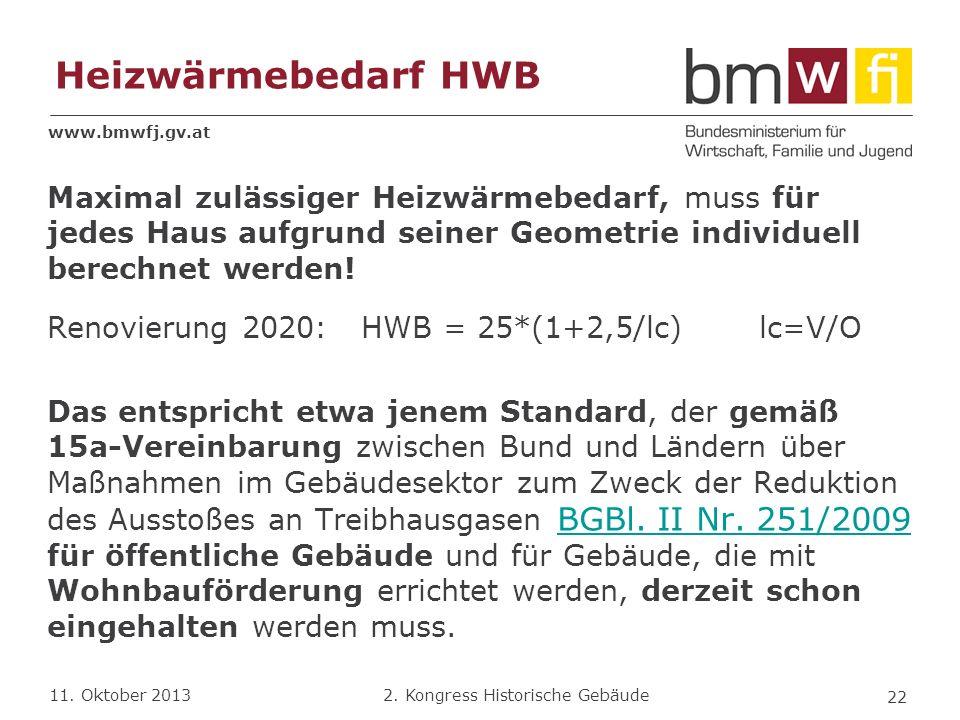 www.bmwfj.gv.at 2. Kongress Historische Gebäude 11. Oktober 2013 Heizwärmebedarf HWB Maximal zulässiger Heizwärmebedarf, muss für jedes Haus aufgrund