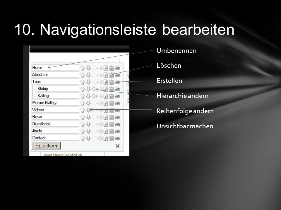 10. Navigationsleiste bearbeiten Umbenennen Löschen Erstellen Hierarchie ändern Reihenfolge ändern Unsichtbar machen