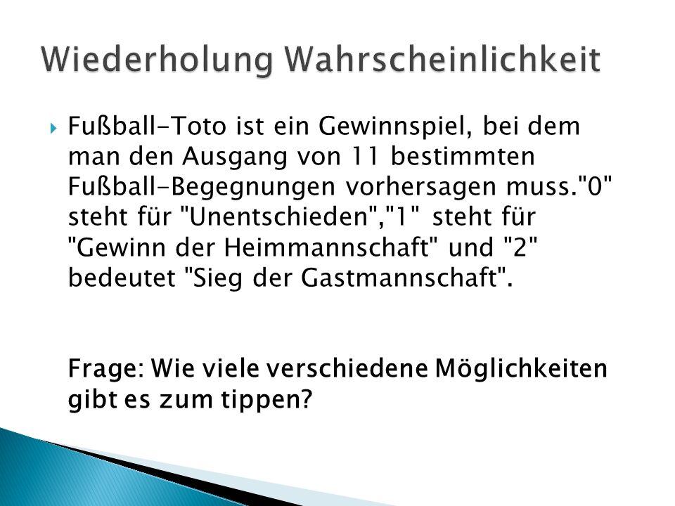 Fußball-Toto ist ein Gewinnspiel, bei dem man den Ausgang von 11 bestimmten Fußball-Begegnungen vorhersagen muss. 0 steht für Unentschieden , 1 steht für Gewinn der Heimmannschaft und 2 bedeutet Sieg der Gastmannschaft .