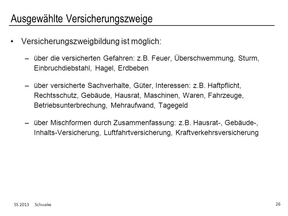 SS 2013 Schwake 26 Ausgewählte Versicherungszweige Versicherungszweigbildung ist möglich: –über die versicherten Gefahren: z.B. Feuer, Überschwemmung,