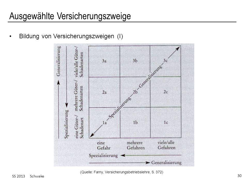 SS 2013 Schwake 30 Ausgewählte Versicherungszweige Bildung von Versicherungszweigen (I) (Quelle: Farny, Versicherungsbetriebslehre, S. 372)