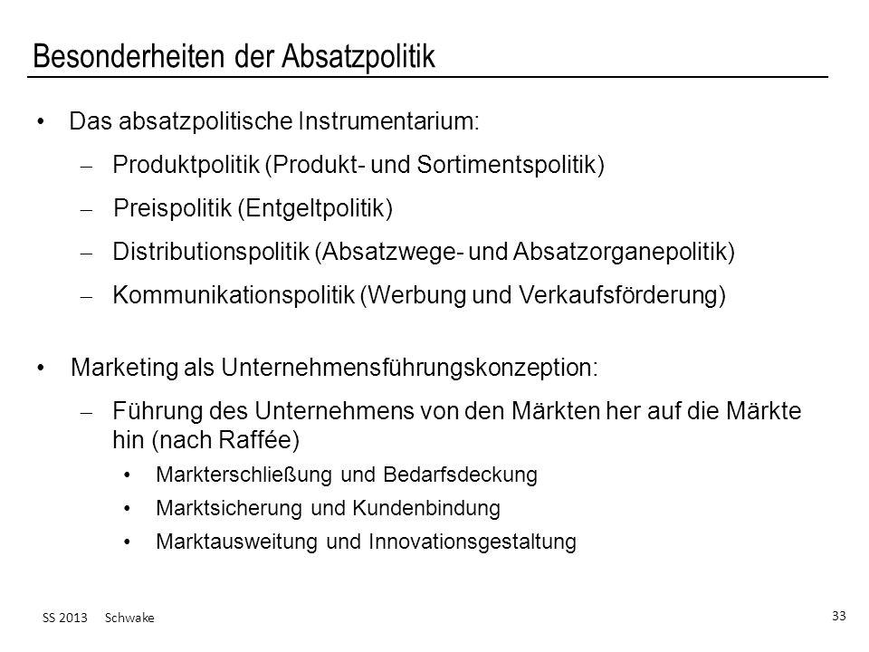 SS 2013 Schwake 33 Besonderheiten der Absatzpolitik Das absatzpolitische Instrumentarium: Produktpolitik (Produkt- und Sortimentspolitik) Preispolitik