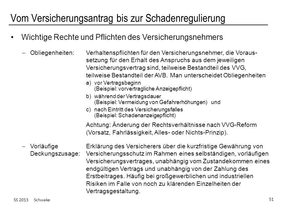 SS 2013 Schwake 51 Vom Versicherungsantrag bis zur Schadenregulierung Wichtige Rechte und Pflichten des Versicherungsnehmers Obliegenheiten: Verhalten