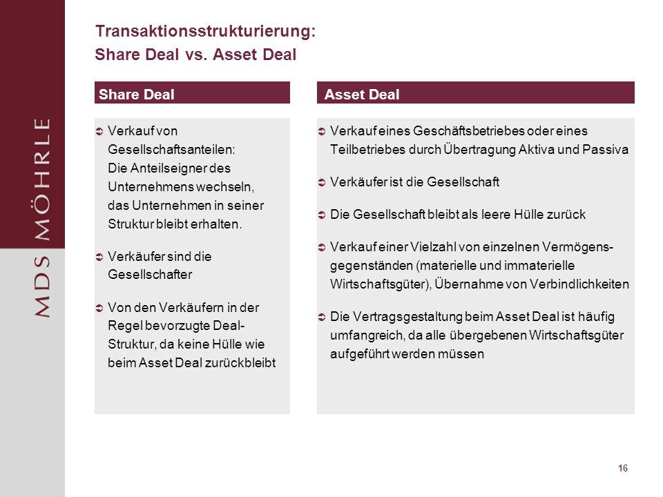 16 Transaktionsstrukturierung: Share Deal vs. Asset Deal Verkauf von Gesellschaftsanteilen: Die Anteilseigner des Unternehmens wechseln, das Unternehm