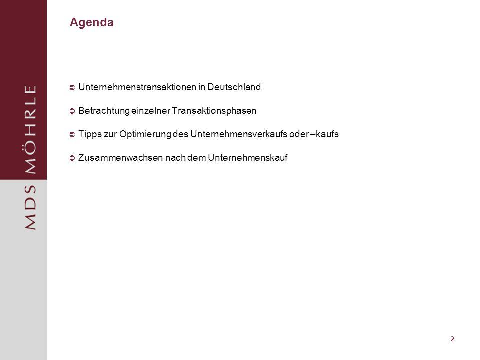 2 Agenda Unternehmenstransaktionen in Deutschland Betrachtung einzelner Transaktionsphasen Tipps zur Optimierung des Unternehmensverkaufs oder –kaufs Zusammenwachsen nach dem Unternehmenskauf