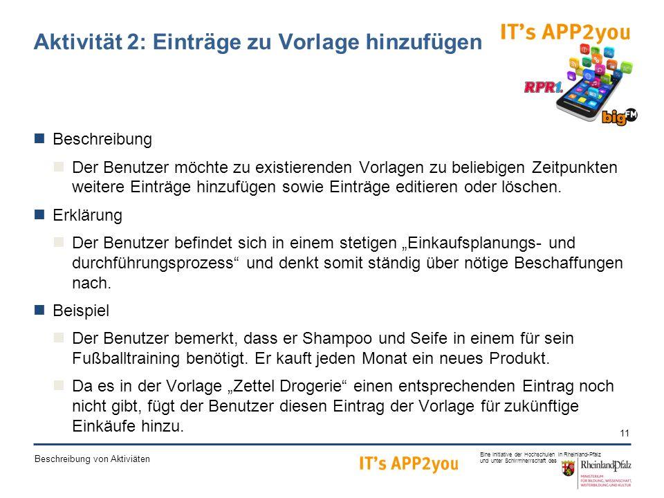 11 Eine Initiative der Hochschulen in Rheinland-Pfalz und unter Schirmherrschaft des Beschreibung von Aktiviäten Aktivität 2: Einträge zu Vorlage hinzufügen Beschreibung Der Benutzer möchte zu existierenden Vorlagen zu beliebigen Zeitpunkten weitere Einträge hinzufügen sowie Einträge editieren oder löschen.