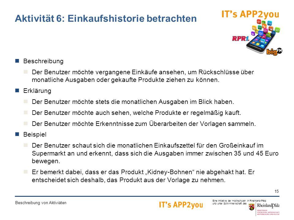 15 Eine Initiative der Hochschulen in Rheinland-Pfalz und unter Schirmherrschaft des Beschreibung von Aktiviäten Aktivität 6: Einkaufshistorie betrachten Beschreibung Der Benutzer möchte vergangene Einkäufe ansehen, um Rückschlüsse über monatliche Ausgaben oder gekaufte Produkte ziehen zu können.