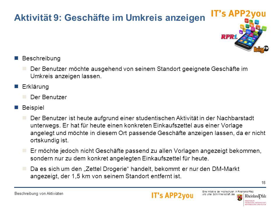 18 Eine Initiative der Hochschulen in Rheinland-Pfalz und unter Schirmherrschaft des Beschreibung von Aktiviäten Aktivität 9: Geschäfte im Umkreis anzeigen Beschreibung Der Benutzer möchte ausgehend von seinem Standort geeignete Geschäfte im Umkreis anzeigen lassen.