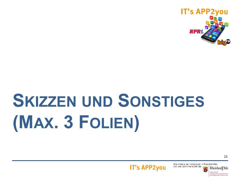 24 Eine Initiative der Hochschulen in Rheinland-Pfalz und unter Schirmherrschaft des S KIZZEN UND S ONSTIGES (M AX.