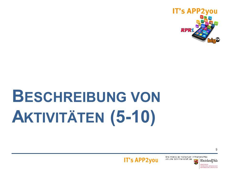 9 Eine Initiative der Hochschulen in Rheinland-Pfalz und unter Schirmherrschaft des B ESCHREIBUNG VON A KTIVITÄTEN (5-10)