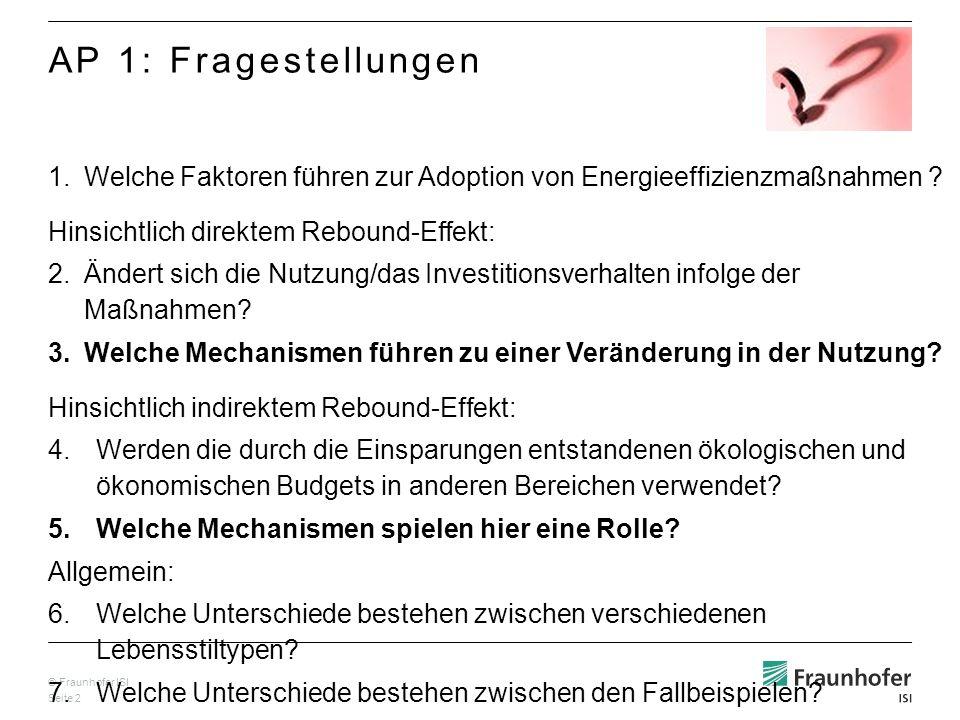 © Fraunhofer ISI Seite 2 1.Welche Faktoren führen zur Adoption von Energieeffizienzmaßnahmen ? Hinsichtlich direktem Rebound-Effekt: 2.Ändert sich die