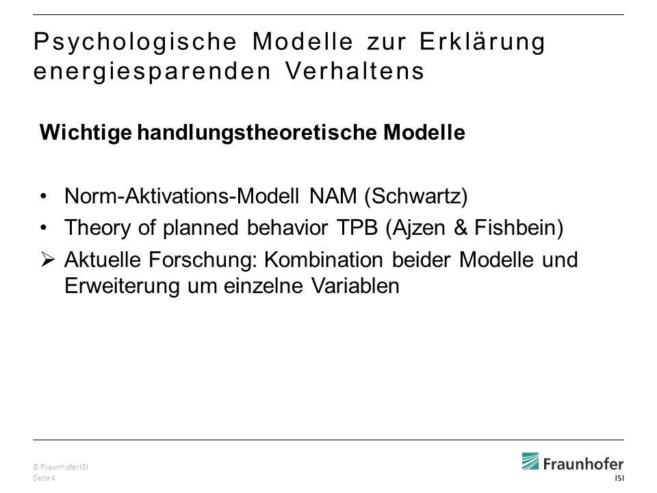 © Fraunhofer ISI Seite 4 Psychologische Modelle zur Erklärung energiesparenden Verhaltens Wichtige handlungstheoretische Modelle Norm-Aktivations-Mode
