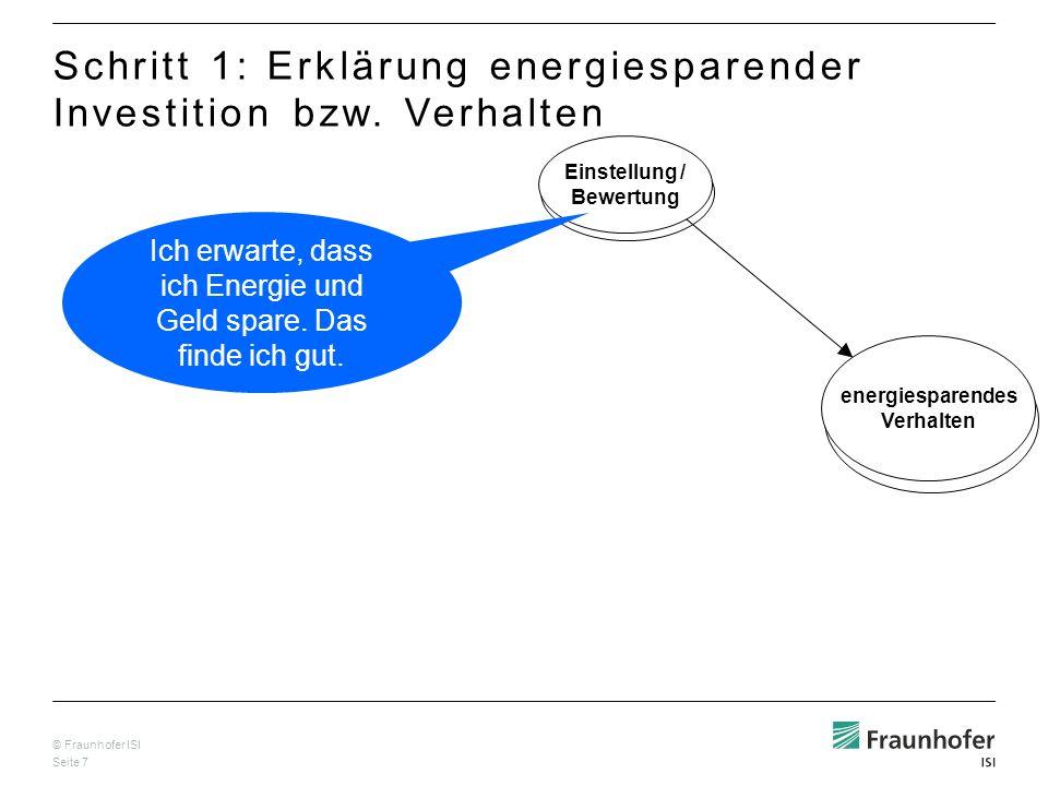 © Fraunhofer ISI Seite 7 Einstellung / Bewertung energiesparendes Verhalten Schritt 1: Erklärung energiesparender Investition bzw.