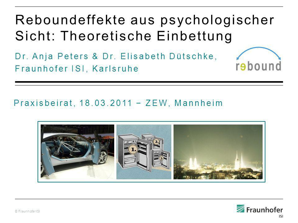 © Fraunhofer ISI Dr.Anja Peters & Dr.