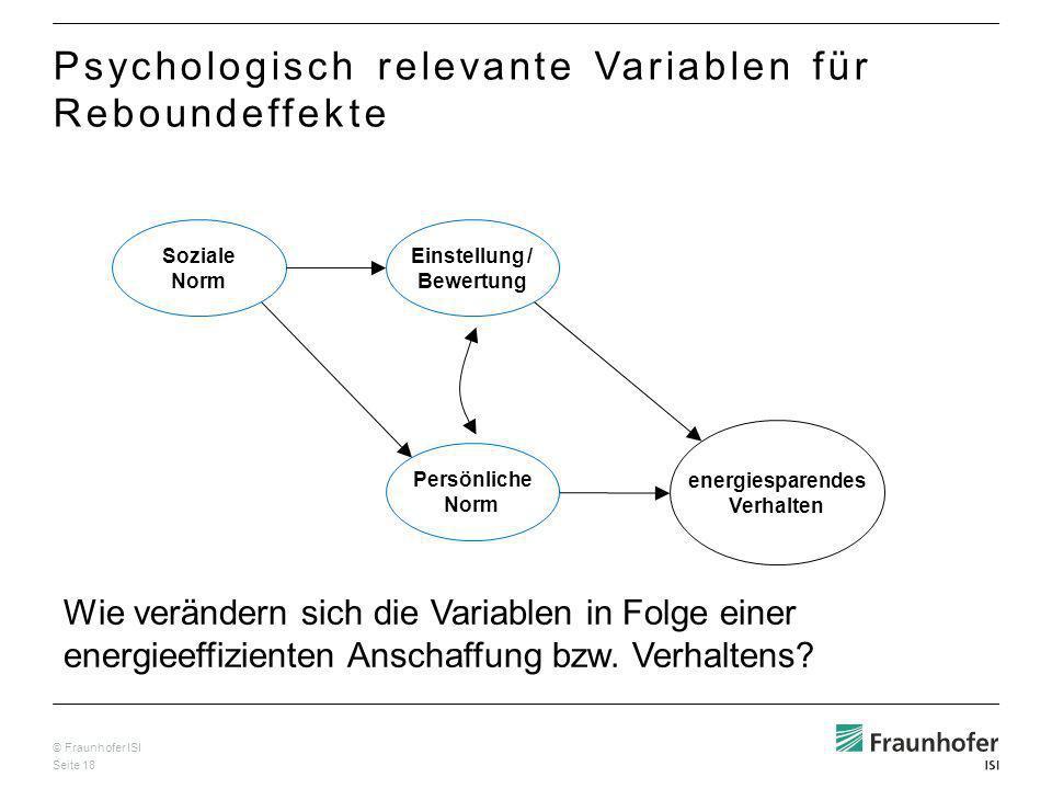 © Fraunhofer ISI Seite 18 Soziale Norm Einstellung / Bewertung Persönliche Norm energiesparendes Verhalten Psychologisch relevante Variablen für Reboundeffekte Wie verändern sich die Variablen in Folge einer energieeffizienten Anschaffung bzw.