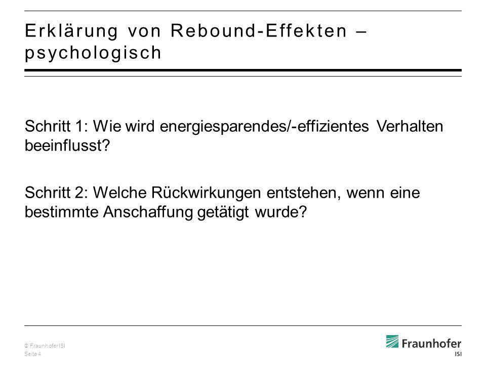 © Fraunhofer ISI Seite 5 Wichtige handlungstheoretische Modelle: Norm-Aktivations-Modell NAM (Schwartz) Theory of planned behavior TPB (Ajzen & Fishbein) Aktuelle Forschung: Kombination beider Modelle und Erweiterung um einzelne Variablen Psychologische Modelle zur Erklärung energiesparenden Verhaltens