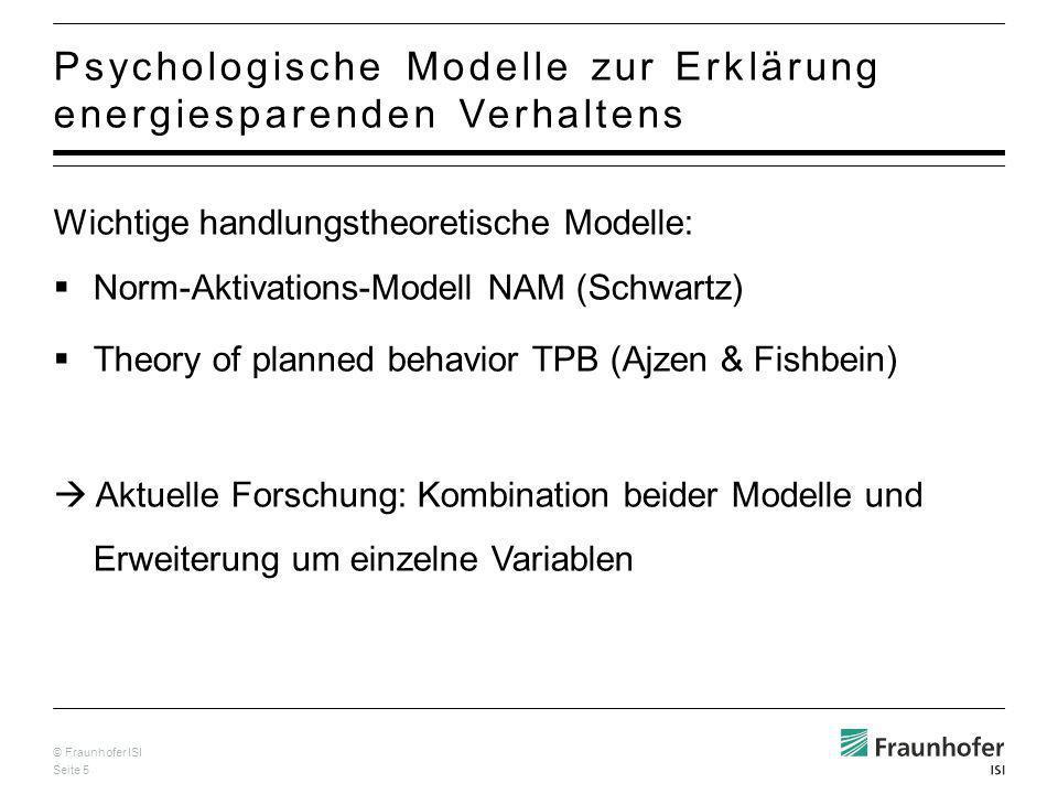 © Fraunhofer ISI Seite 16 Wahrg.Effektivität der Handlung Problem- Bewusstsein & allg.