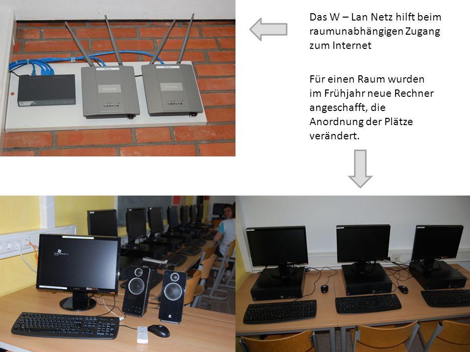 Das W – Lan Netz hilft beim raumunabhängigen Zugang zum Internet Für einen Raum wurden im Frühjahr neue Rechner angeschafft, die Anordnung der Plätze