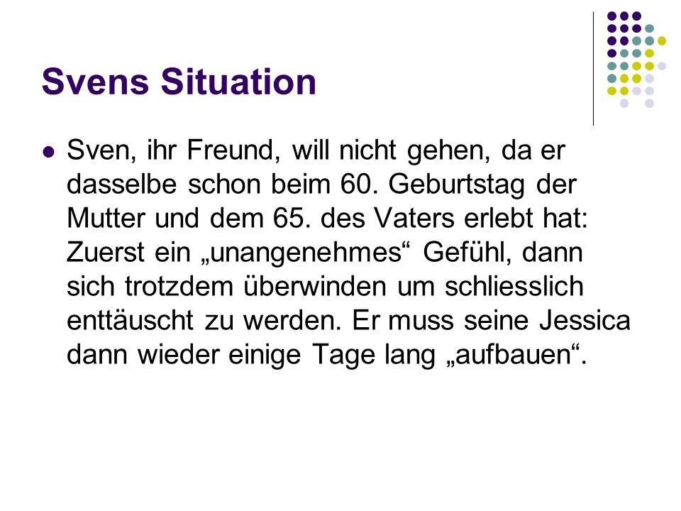 Svens Situation Sven, ihr Freund, will nicht gehen, da er dasselbe schon beim 60. Geburtstag der Mutter und dem 65. des Vaters erlebt hat: Zuerst ein