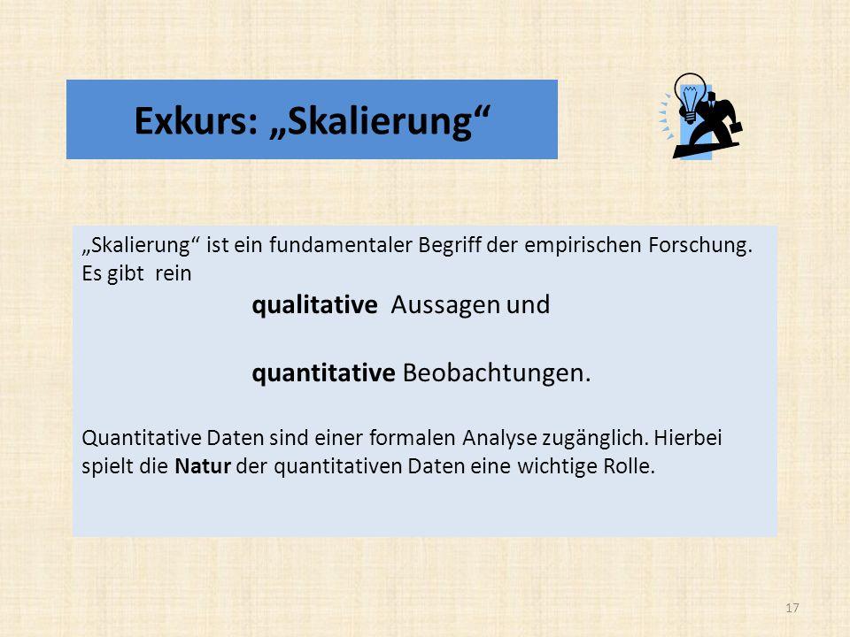 Exkurs: Skalierung Skalierung ist ein fundamentaler Begriff der empirischen Forschung.