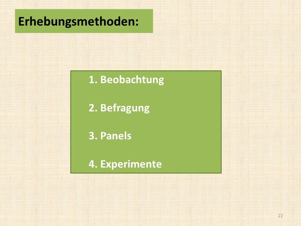 1. Beobachtung 2. Befragung 3. Panels 4. Experimente 22 Erhebungsmethoden: