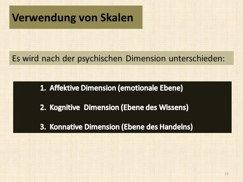 33 Verwendung von Skalen Es wird nach der psychischen Dimension unterschieden: