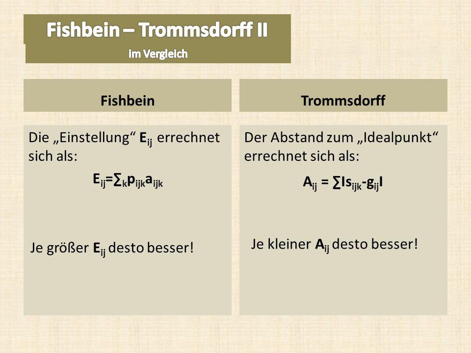 Die Einstellung E ij errechnet sich als: E ij = k p ijk a ijk Der Abstand zum Idealpunkt errechnet sich als: A ij = Is ijk -g ij I FishbeinTrommsdorff Je größer E ij desto besser.