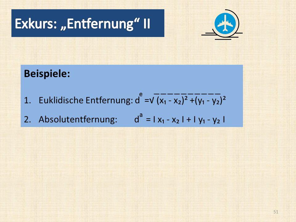 51 Beispiele: 1.Euklidische Entfernung: d = (x - x)² +(y - y)² 2.Absolutentfernung: d = Ι x - x Ι + Ι y - y Ι e a