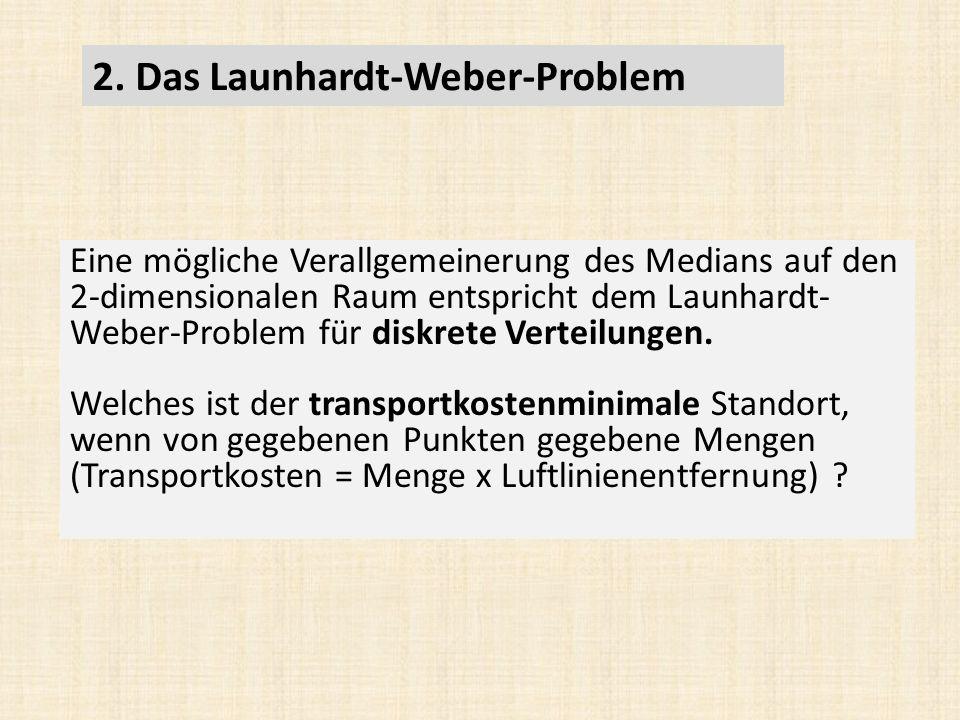Eine mögliche Verallgemeinerung des Medians auf den 2-dimensionalen Raum entspricht dem Launhardt- Weber-Problem für diskrete Verteilungen.