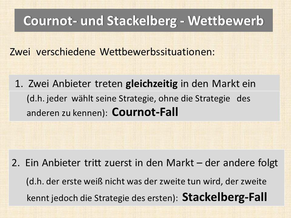 Zwei verschiedene Wettbewerbssituationen: 1.Zwei Anbieter treten gleichzeitig in den Markt ein 2.