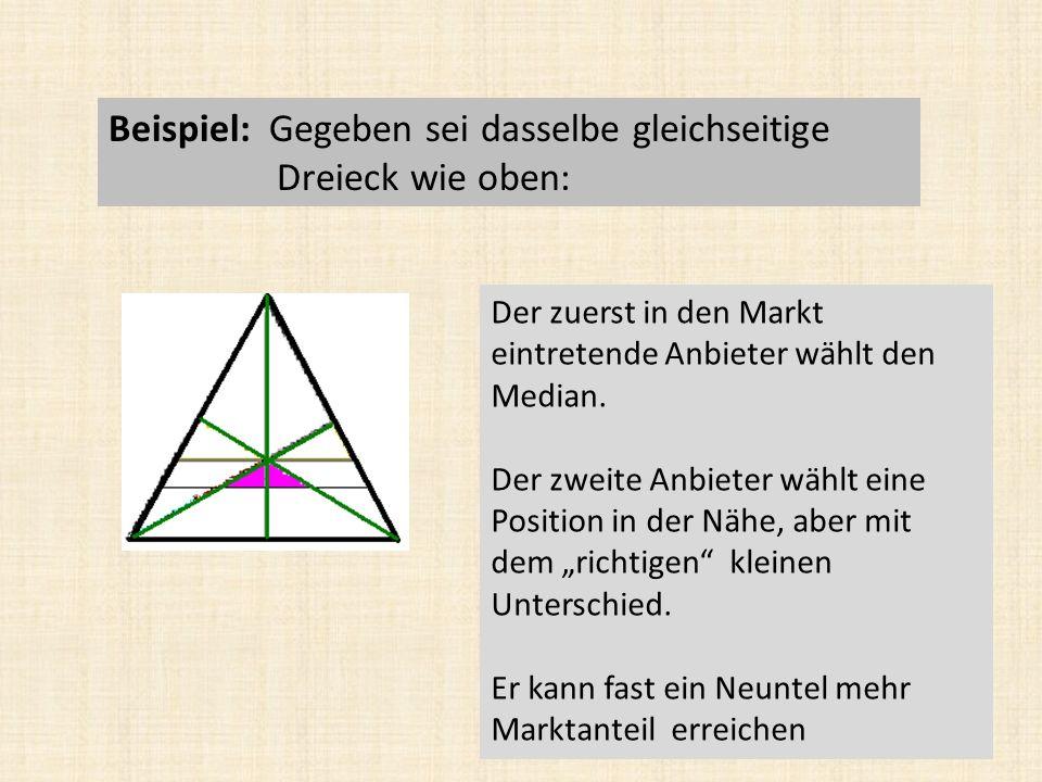 Beispiel: Gegeben sei dasselbe gleichseitige Dreieck wie oben: Der zuerst in den Markt eintretende Anbieter wählt den Median.