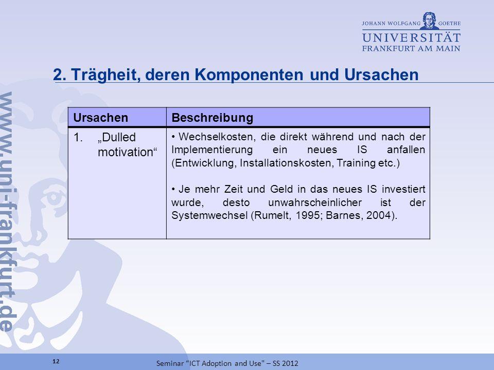 2. Trägheit, deren Komponenten und Ursachen 12 Seminar ICT Adoption and Use