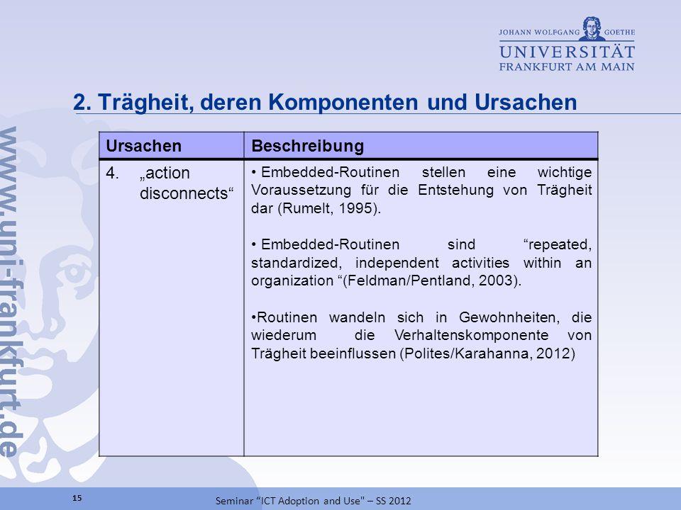 Agenda 2Trägheit, deren Komponenten und Ursachen 1Einführung 16 Seminar ICT Adoption and Use – SS 2012 Literaturverzeichnis3 3Darstellung der Ergebnisse