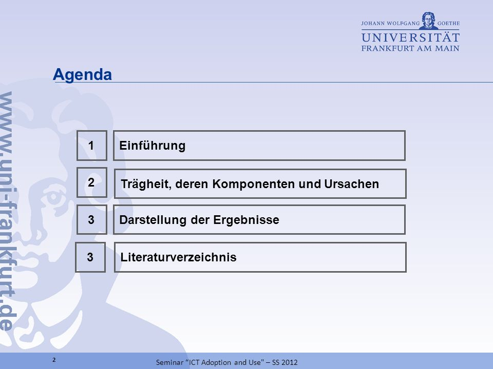 Agenda 2 Darstellung der Ergebnisse3 Trägheit, deren Komponenten und Ursachen 1Einführung 2 Seminar ICT Adoption and Use – SS 2012 Literaturverzeichnis3