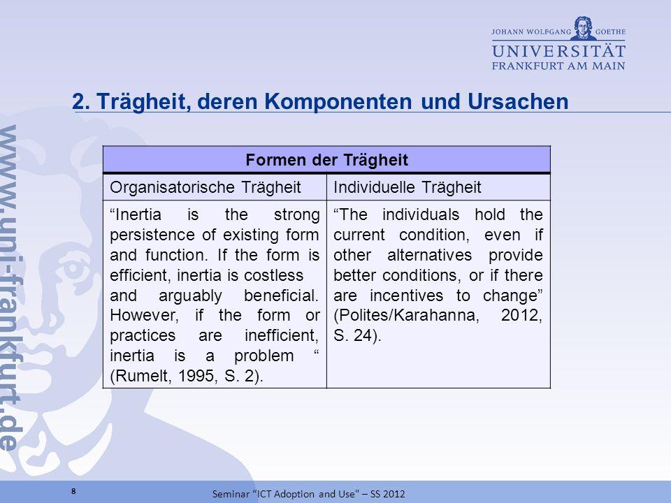 2. Trägheit, deren Komponenten und Ursachen 8 Seminar ICT Adoption and Use