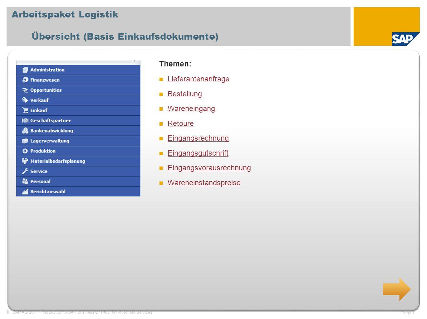 SAP AG 2011, Introduction to SAP Business One 8.8, GTM Rollout Services Page 1 Arbeitspaket Logistik Übersicht (Basis Einkaufsdokumente) Themen: Liefe