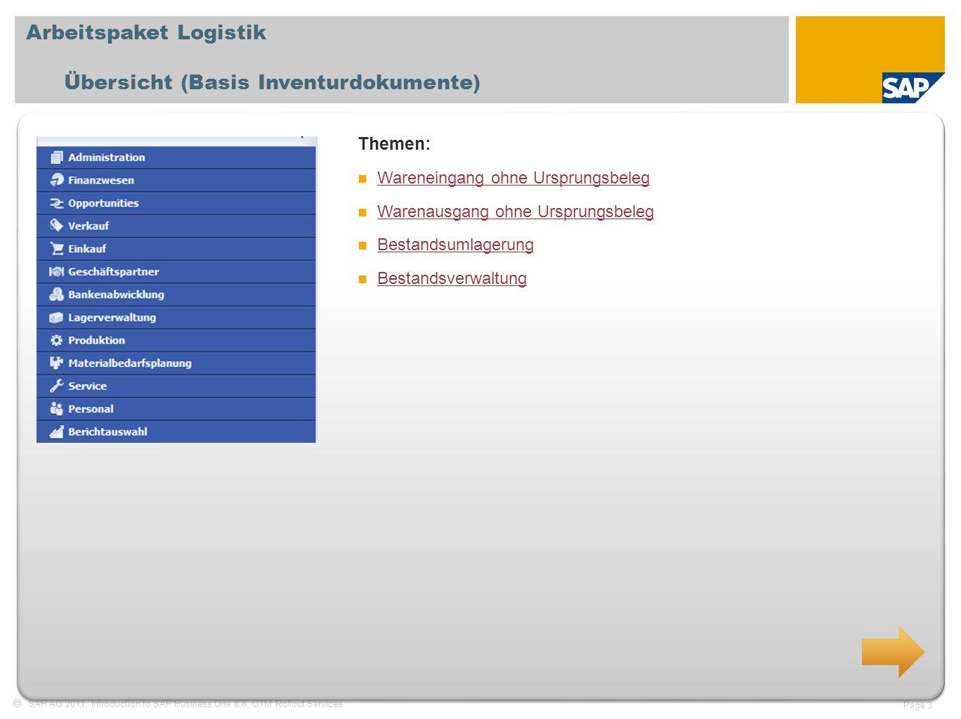 SAP AG 2011, Introduction to SAP Business One 8.8, GTM Rollout Services Page 3 Arbeitspaket Logistik Übersicht (Basis Inventurdokumente) Themen: Waren