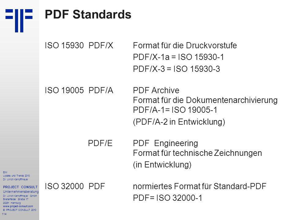 114 EIM Update und Trends 2010 Dr. Ulrich Kampffmeyer PROJECT CONSULT Unternehmensberatung Dr. Ulrich Kampffmeyer GmbH Breitenfelder Straße 17 20251 H