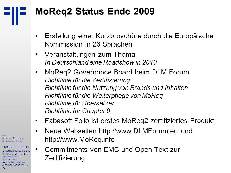 124 EIM Update und Trends 2010 Dr. Ulrich Kampffmeyer PROJECT CONSULT Unternehmensberatung Dr. Ulrich Kampffmeyer GmbH Breitenfelder Straße 17 20251 H