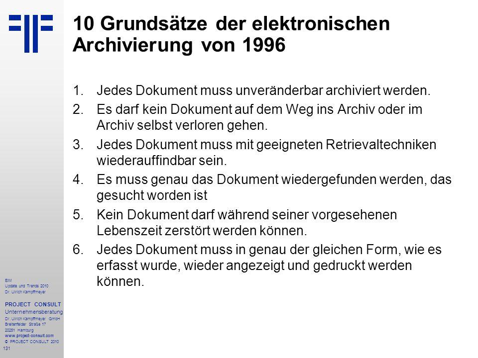 131 EIM Update und Trends 2010 Dr. Ulrich Kampffmeyer PROJECT CONSULT Unternehmensberatung Dr. Ulrich Kampffmeyer GmbH Breitenfelder Straße 17 20251 H