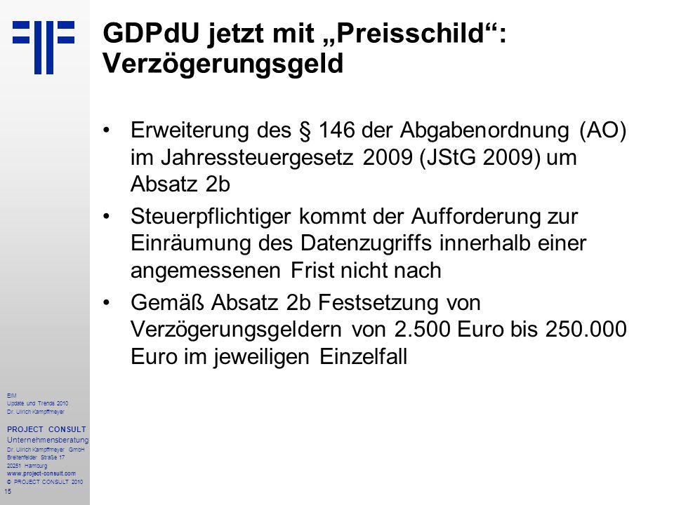 15 EIM Update und Trends 2010 Dr. Ulrich Kampffmeyer PROJECT CONSULT Unternehmensberatung Dr. Ulrich Kampffmeyer GmbH Breitenfelder Straße 17 20251 Ha