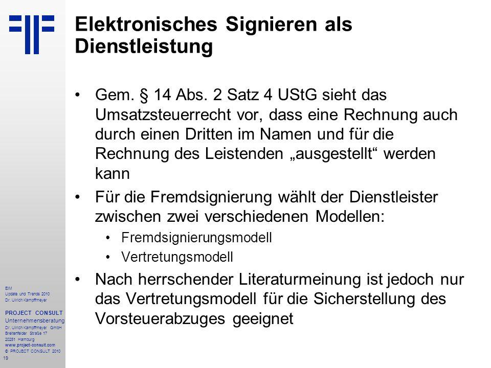 19 EIM Update und Trends 2010 Dr. Ulrich Kampffmeyer PROJECT CONSULT Unternehmensberatung Dr. Ulrich Kampffmeyer GmbH Breitenfelder Straße 17 20251 Ha