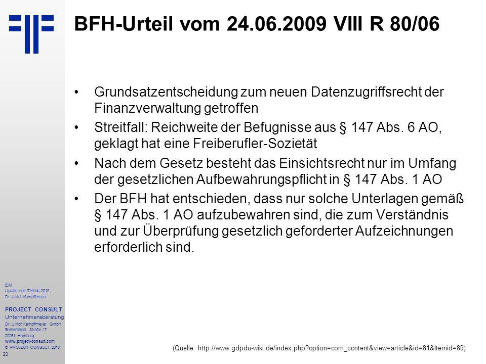23 EIM Update und Trends 2010 Dr. Ulrich Kampffmeyer PROJECT CONSULT Unternehmensberatung Dr. Ulrich Kampffmeyer GmbH Breitenfelder Straße 17 20251 Ha
