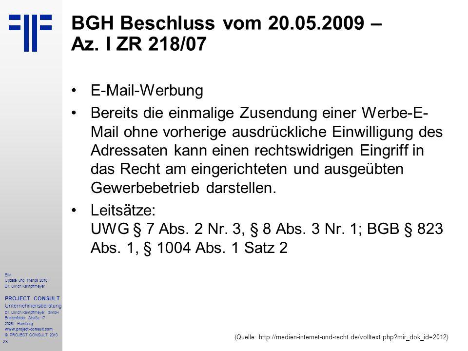 28 EIM Update und Trends 2010 Dr. Ulrich Kampffmeyer PROJECT CONSULT Unternehmensberatung Dr. Ulrich Kampffmeyer GmbH Breitenfelder Straße 17 20251 Ha