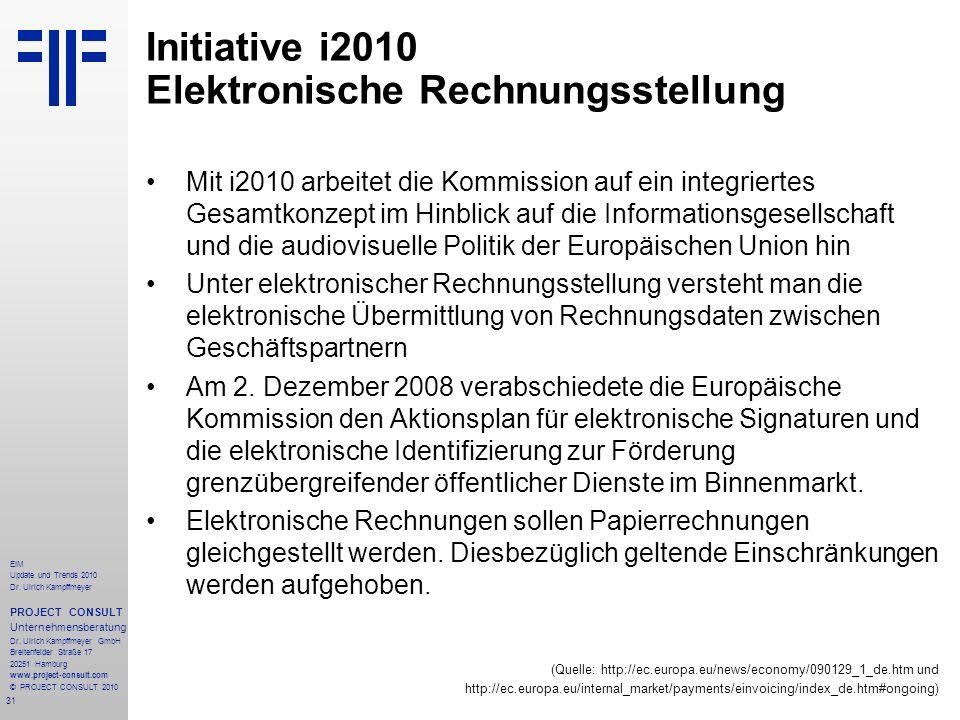 31 EIM Update und Trends 2010 Dr. Ulrich Kampffmeyer PROJECT CONSULT Unternehmensberatung Dr. Ulrich Kampffmeyer GmbH Breitenfelder Straße 17 20251 Ha